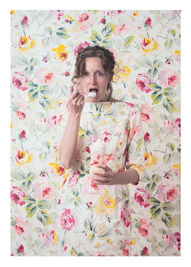 Lee Price: Self Portrait with Parfait in Floral Room. Used by permission of the artist.